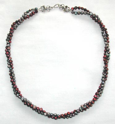 Red and Gray Freshwater Pearl Necklaces