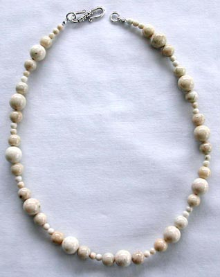 Natural Fossil White Beaded Necklace