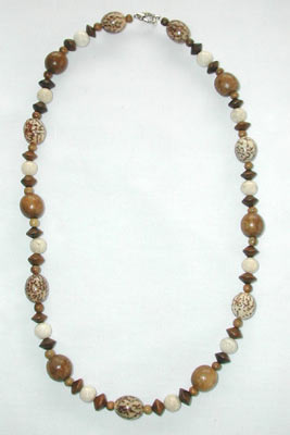 Wood, Betelnut, and Fossil Necklace