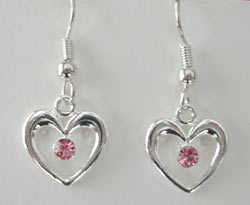 Swarovski Light Rose in Silver Heart Earrings