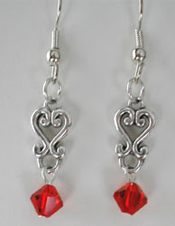 Swarovski Silver and Red Crystal Earrings