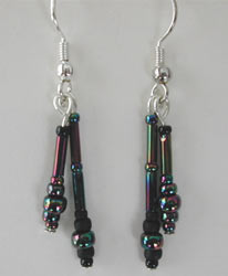 Black Rainbow Seed Bead Earrings