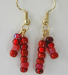 Red Seed Bead Earrings