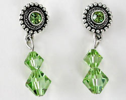 Swarovski Round Peridot Earrings