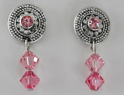 Swarovski Round Rose Earrings