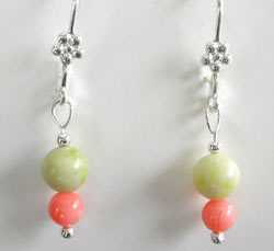 Peridot Jasper and Coral Earrings