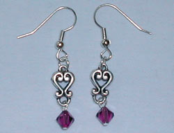 Swarovski Silver and Amethyst Earrings