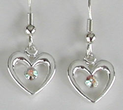 Swarovski Crystal AB in Silver Heart Earrings