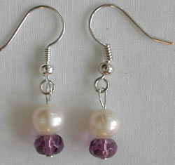 Purple Crystal and White Pearl Earrings