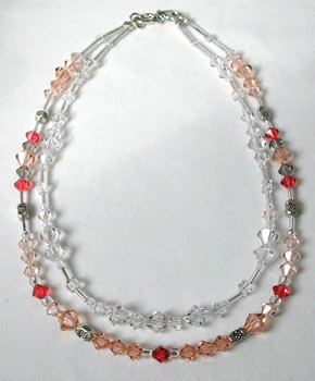 Peach and Crystal necklace