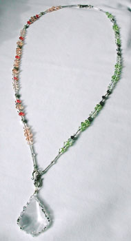 Connect Peridot and Peach. Dangle Pendant