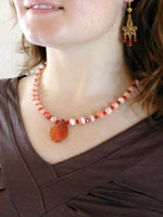 carnelian necklace with pendant