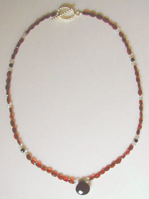 faceted garnet necklace with pendant