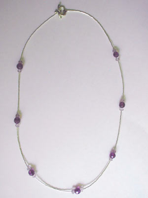 silver with light and dark amethyst necklace