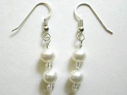 white pearl and rock crystal earrings