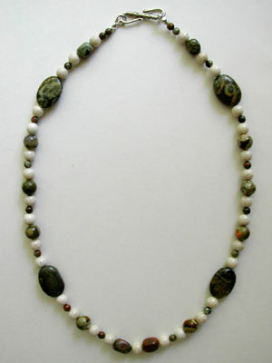 fossil and ryolite necklace