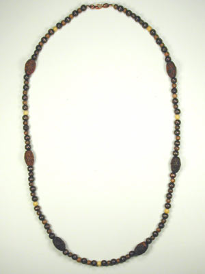 Brown Carved Wood Necklace
