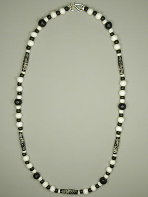 Black and white wood and horn necklace