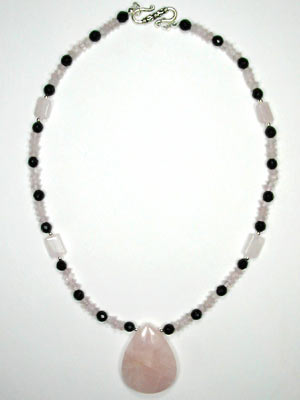 black onyx and rose quartz necklace