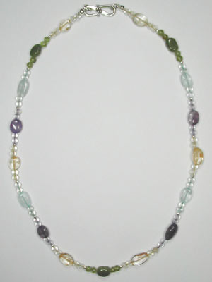 amethyst-blue topaz-citrine-peridot ovals necklace