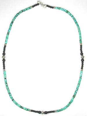 Turquoise heishi and black onyx necklace