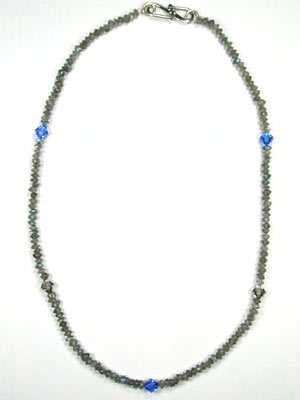 Small labradorite and Swarovski necklace