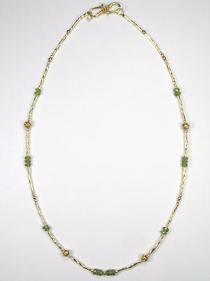 beaded gold and peridot necklace