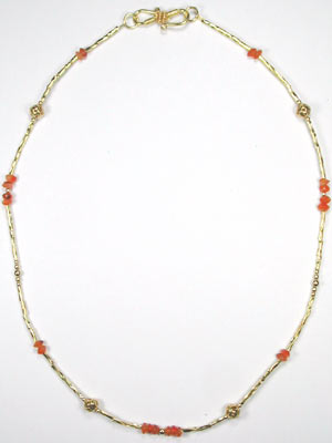 handmade gold and carnelian beaded necklace