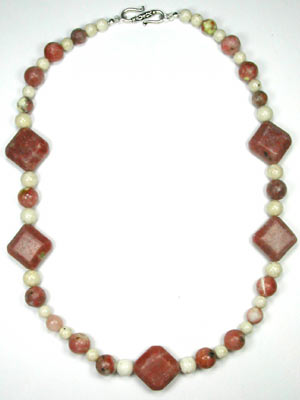 Pink lepidolite squares necklace