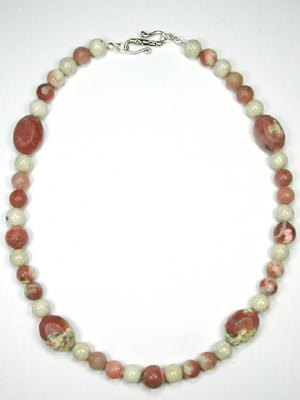 pink lepidolite ovals necklace