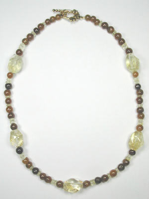 yellow and brown citrine necklace