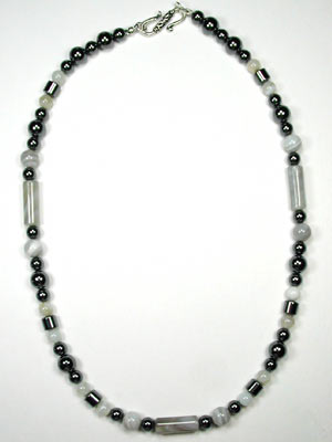 Hematite and natural onyx necklace