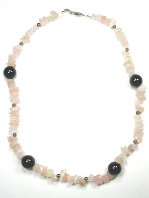 smoky and rose quartz necklace