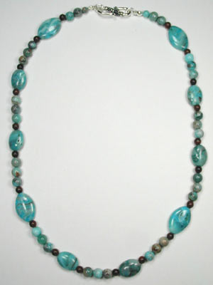 blue crazy lace oval necklace