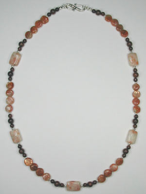 Mahogany obsidian and sunstone necklace
