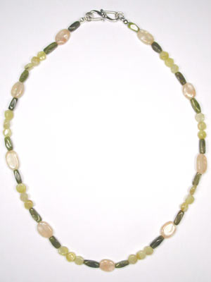 vesuvianite-yellow opal-peach moonstone necklace