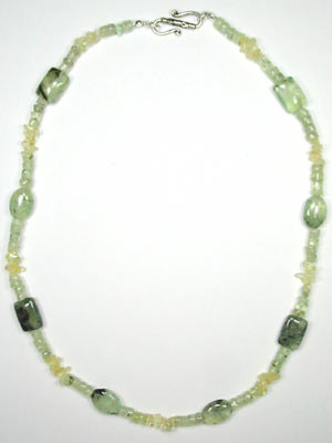 green tourmalinated quartz and citrine necklace