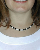 white coral and black onyx necklace
