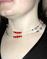 Red Swarovski and silver necklace