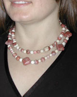 pink lepidolite necklace set