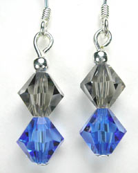 blue and gray swarovski earrings