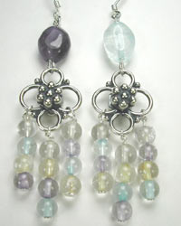 amethyst, blue topaz, citrine earrings