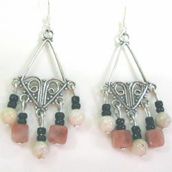 pink lepidolite chandelier earrings