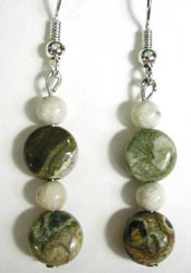 rhyolite and fossil earrings