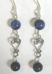sodalite and Bali silver earrings
