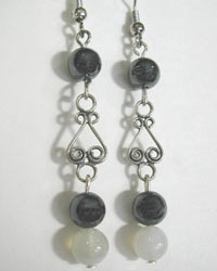 hematite and natural onyx earrings