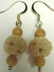 handcrafted carved bone earrings