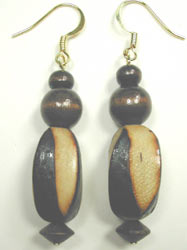 handcrafted large burnt wood earrings