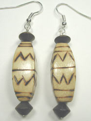 handcrfted zig-zag burnt wood earrings