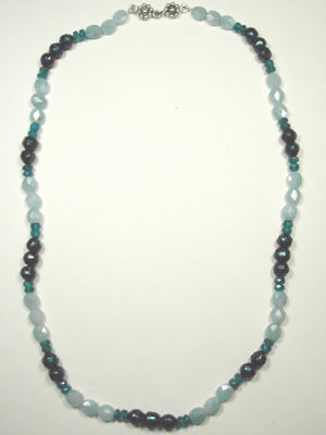 Faceted pearl, aquamarine, apatite necklace
